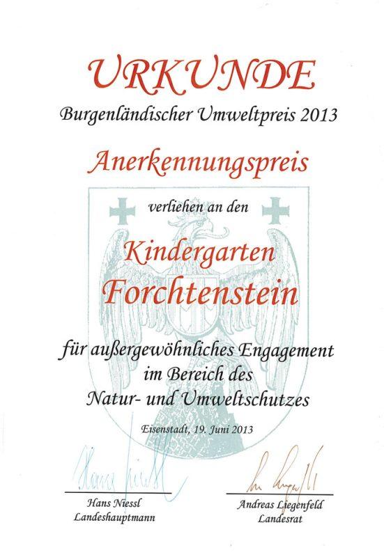 kindergarten-forchtenstein-auszeichnung-umweltpreis-2013
